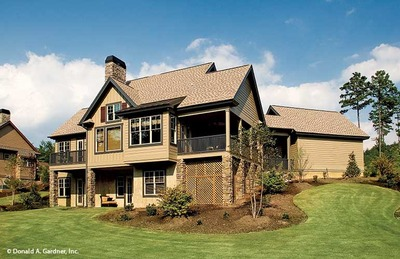 Home Plan The Riva Ridge by Donald A  Gardner ArchitectsRear Exterior
