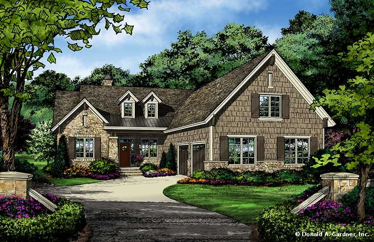 Rear side load garage house plans home design and style for Rear view house plans