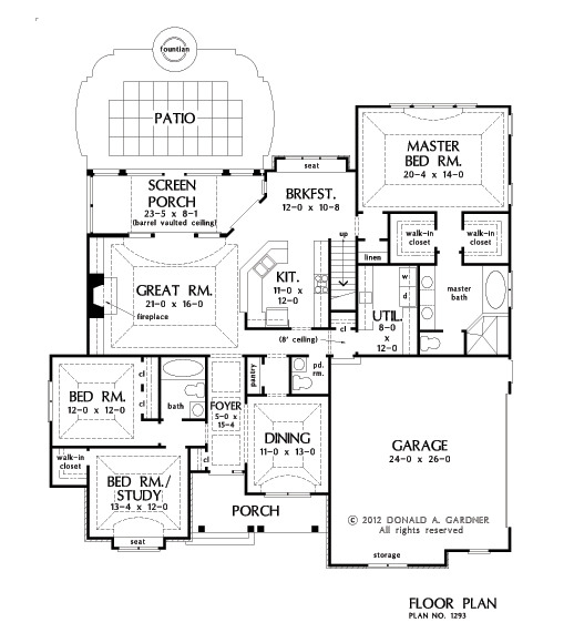 Home plan the becker by donald a gardner architects for Becker study plan
