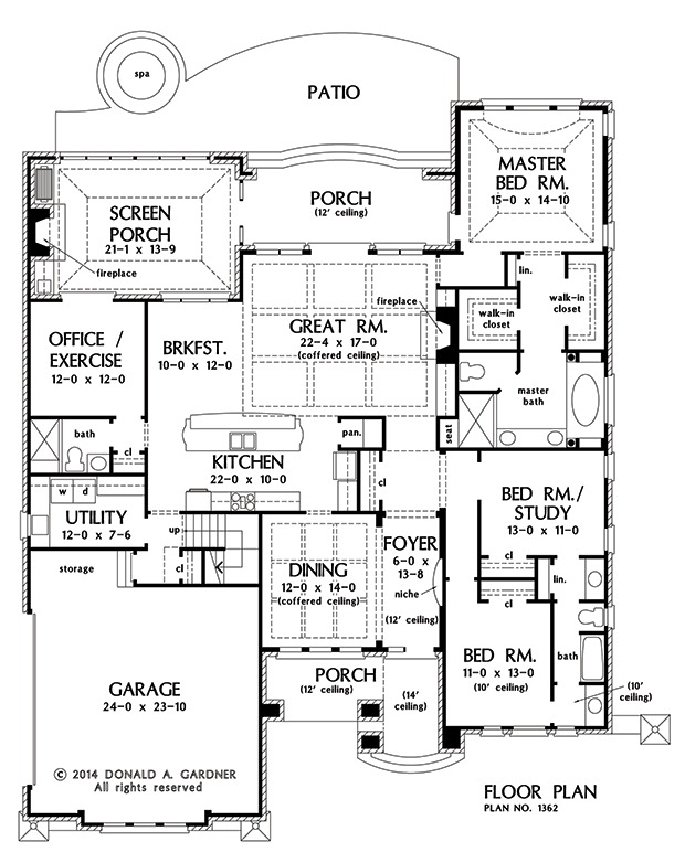House Plan The Eliana by Donald A  Gardner ArchitectsFloor Plans  FIRST  first