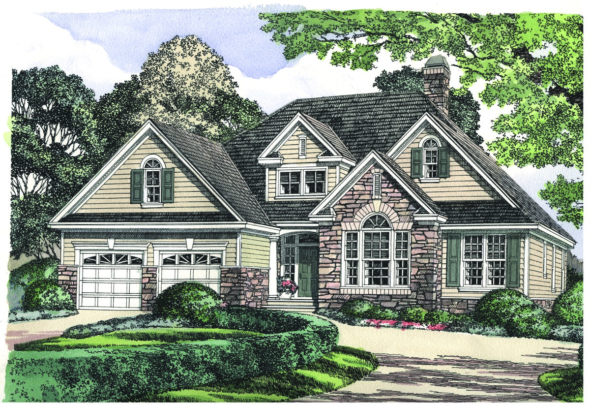 The Dewfield - House Plan 1030. Stone details grace the exterior