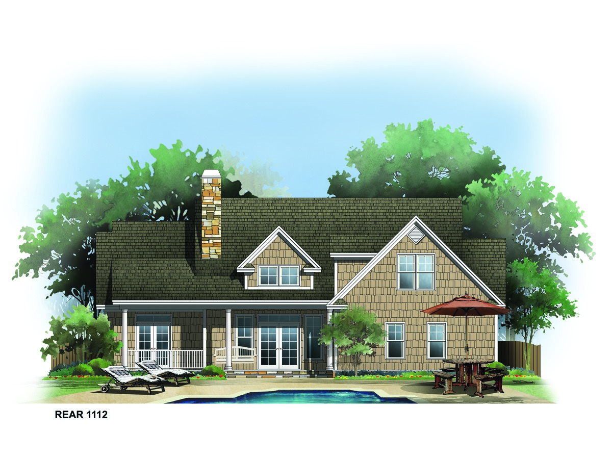 Rear Rendering of The Montclair - House Plan Number 1112
