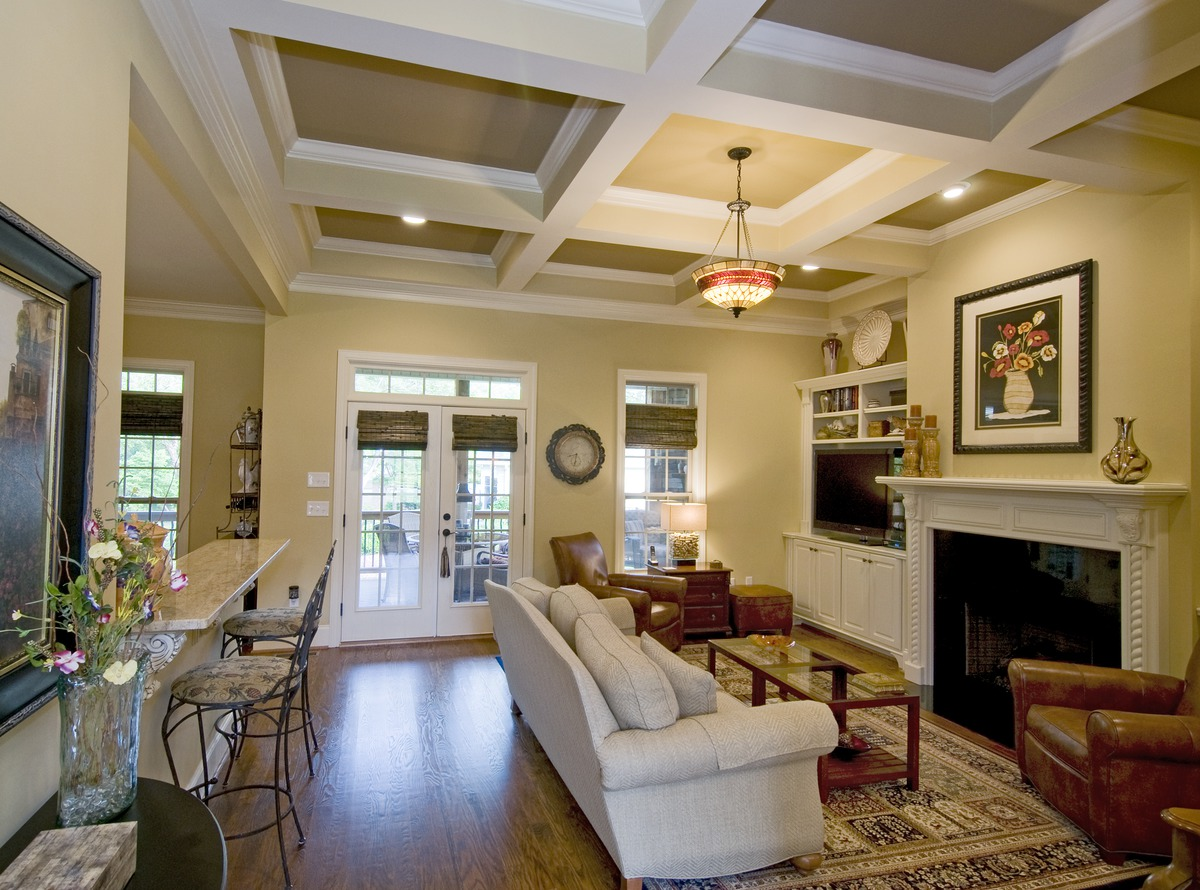 Coffered ceiling in the great room of the Runnymeade Plan #1164 by Don Gardner
