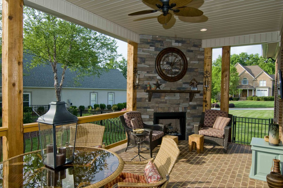 Great Outdoors: Rear Porch with Fireplace from The Runnymeade Design #1164