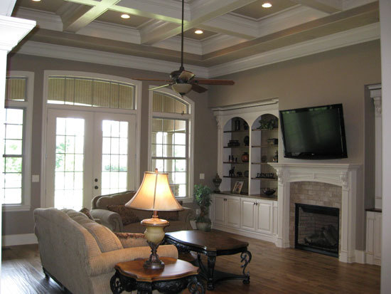 Exposed wood beams in the great room of the Birchwood Plan #1239 by Don Gardner