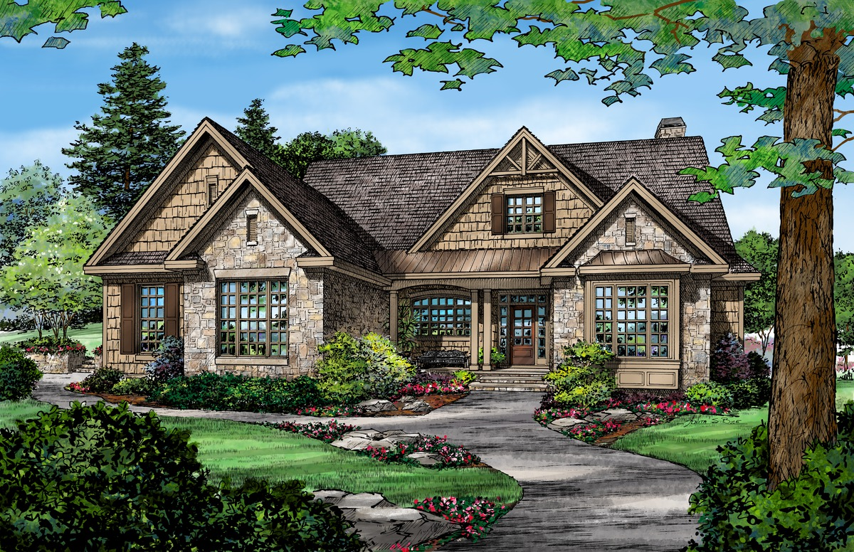 Craftsman Rendering of The Bosworth - House Plan 1328