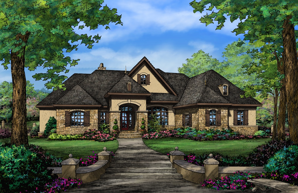 Front Rendering of The Spencer Hall - Home Plan 5006
