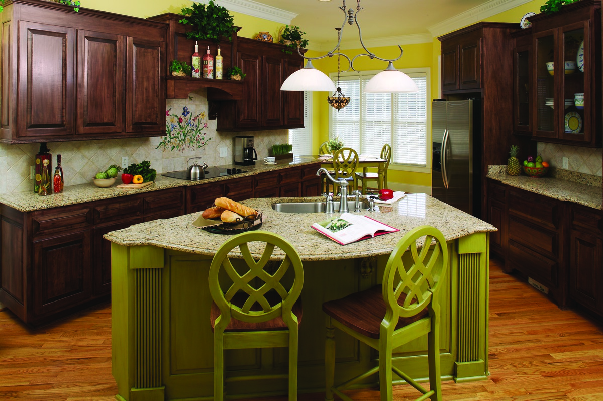 Colorful accents in the Kitchen of The Churchdown - House Plan Number 867