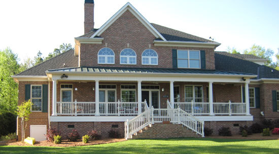 Rear exterior of the Hickory Ridge Plan #916 with country porches